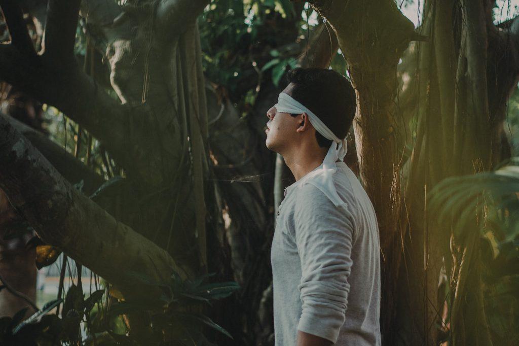 man blindfolded